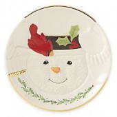 Lenox Happy Holly Days Snowman with Cardinal Cookie Plate