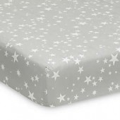 Lambs & Ivy Milky Way Fitted Crib Sheet in Grey/White