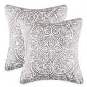 Classic Medallion Square Throw Pillows in Grey (Set of 2)