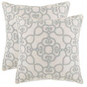 Madison Embroidered Geometric Square Throw Pillow
