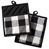 Design Imports Buffalo Check Pot Holders in Black (Set of 2)