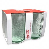 Coca-Cola 12-Ounce Embossed Green Glass Can (Set of 4)