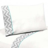 Sweet Jojo Designs Zig Zag Sheet Set in Turquoise/Grey