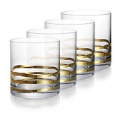 Fitz and Floyd Double Old Fashion Glass in Gold Waves (Set of 4)
