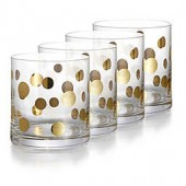 Fitz and Floyd Double Old Fashion Glass in Gold Dots (Set of 4)
