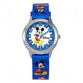 Disney Childrens Stainless Steel Mickey Mouse Time Teacher Watch in Blue