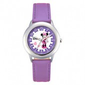 Disney Childrens 30mm Pretty in Purple Minnie Mouse Watch in Stainless Steel with Purple Strap