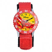 Disney Childrens Racing Lightning McQueen Time Teacher Watch in Stainless Steel with Red Strap