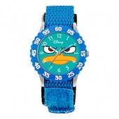 Disney Childrens Agent P Time Teacher Numbered Bezel Watch in Stainless Steel w/Blue Strap