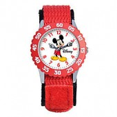 Disney Childrens 32mm Mickey Mouse Time Teacher Watch in Stainless Steel with Red Strap