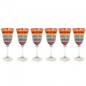 Classic Touch Multicolored Water Glasses with 24K Gold Artwork (Set of 6)