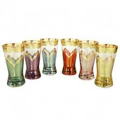 Classic Touch Tumblers with 24K Gold Artwork in Assorted Colors (Set of 6)
