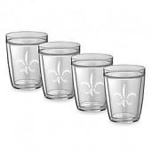 Kraftware Double Wall 14 oz. Short Fleur De Lis Glasses (Set of 4)