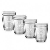 Kraftware Kasualware 14 oz. Compass Point Double-Wall Short Glasses (Set of 4)