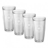 Kraftware Kasualware 22 oz. Compass Point Double-Wall Tall Glasses (Set of 4)