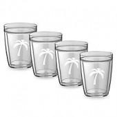 Kraftware Double Wall Short Palm Tree Glasses (Set of 4)