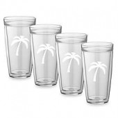 Kraftware Double Wall Tall Palm Tree Glasses (Set of 4)