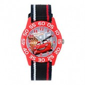 Disney Cars Childrens 32mm Watch with Red and Black Striped Strap