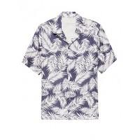 Camden Standard-Fit Linen Palm Print Camp Shirt