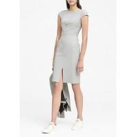 Heathered Bi-Stretch V-Back Sheath Dress
