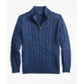 Boys Cotton Half-Zip Cable Sweater