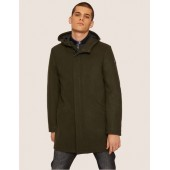 WOOL-BLEND CONVERTIBLE PEA COAT WITH BOMBER INSERT