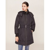 BELTED HOODED PUFFER COAT