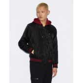 BOMBER WITH HOOD AND STRIPED ELASTIC