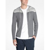 STRIPED HOODED SWEATER JACKET