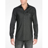 SLIM DENIM SHIRT WITH PATCHES