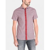 CONTRAST PLACKET SHORT-SLEEVE SHIRT