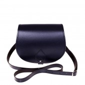 Navy Leather Saddle Bag