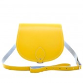 Pastel Daffodil Yellow Leather Saddle Bag