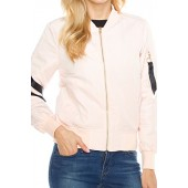Angel Cola Womens MA-1 Strapped Bomber Quilted Flight Jacket