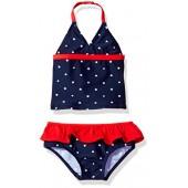 OshKosh BGosh Osh Kosh Baby Little Girls Infant Skirted Patriotic Star Tankini Swimsuit Set, Navy, 24M
