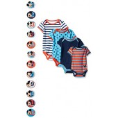 Disney Baby-Boys Grow with Me Bodysuits with 12 Monthly Mickey Stickers (Pack of 4)