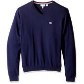 Lacoste Boys V-Neck Cotton Sweater