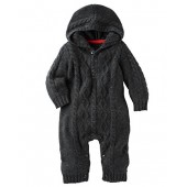 OshKosh BGosh OshKosh Bgosh Baby Boys Hooded Cable Knit Coverall, Charcoal