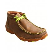 Twisted X Boys And Neon Yellow Leather Driving Mocs - Ydm0011