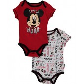 Disney Mickey Mouse Baby Boys Little Hunk 2-Pack Bodysuits - red, 3 - 6 months