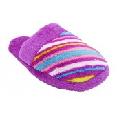 Zallies Girls Printed Plush Slippers with Faux Fur Trim and Lining - Assorted Colors