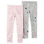 Carters Carters Little Girls 2-Pack Stretch Cotton Splatter and Stripes Leggings (4t)