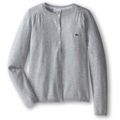 Lacoste Kids Baby Girls Cotton Wool Cardigan (Infant/Toddler/Little Kids/Big Kids) Silver Grey Chin