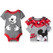 Disney Baby Boys 3 Pack of Mickey Mouse Bodysuits