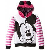 Disney Girls Mickey Mouse Zip Up Hoodie with Ears On Hood