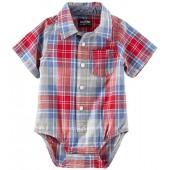 OshKosh BGosh Oshkosh Bgosh Oshkosh Bgosh Baby Boys Woven Bodysuit 11982011, Plaid, 3M