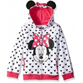 Disney Girls Minnie Mouse Zip up Hoodie with Bow and Ears