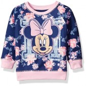 Disney Baby Girls Minnie Mouse Floral All Over Print French Terry Sweatshirt