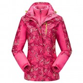 DZRZVD Womens Bright Color Waterproof Ski Snow Soft Shell Jacket Coat + Warm Coral Thermal Fleece
