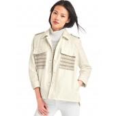 Embroidered sheen shirt jacket